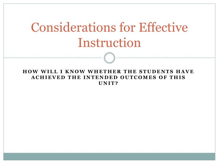 Considerations for Effective Instruction