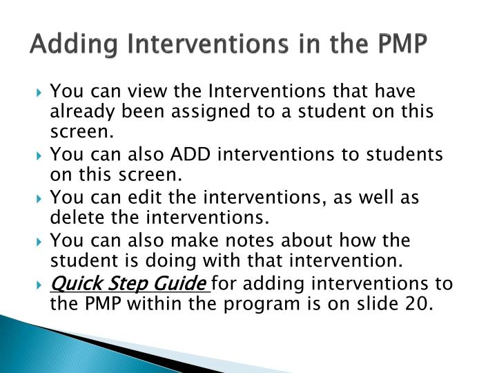 Adding Interventions in the PMP