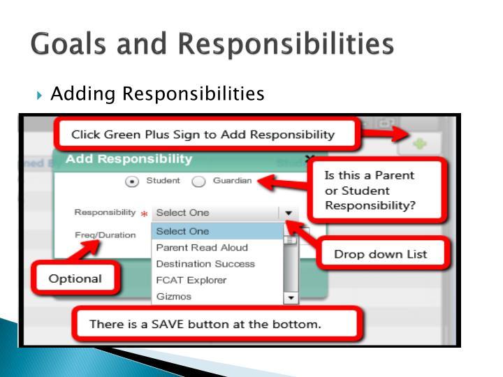 Goals and Responsibilities