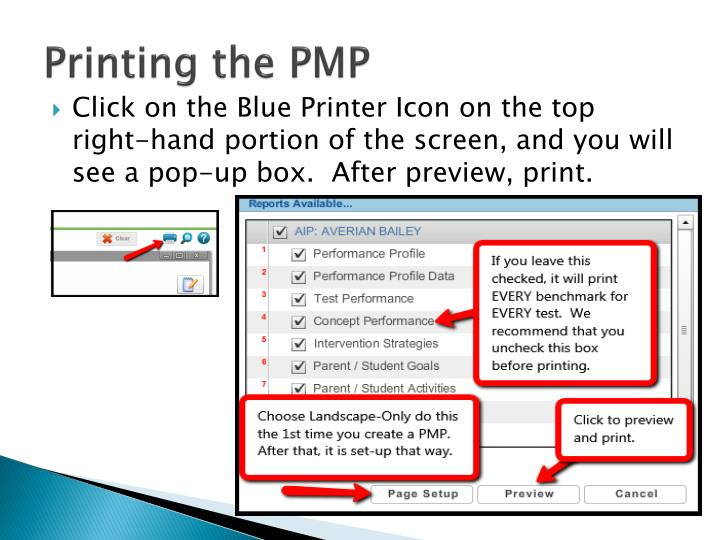 Printing the PMP