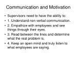 communication and motivation
