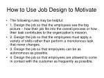 how to use job design to motivate