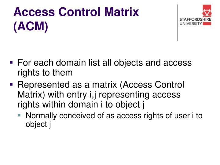 Access Control Matrix (ACM)