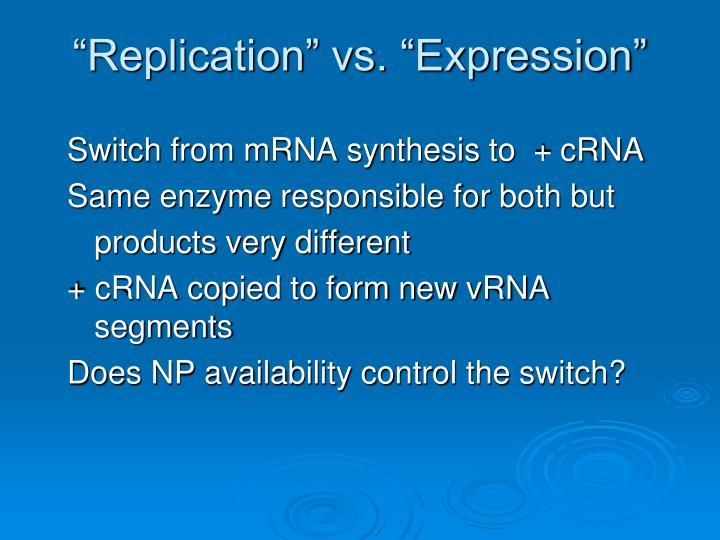 """Replication"" vs. ""Expression"""
