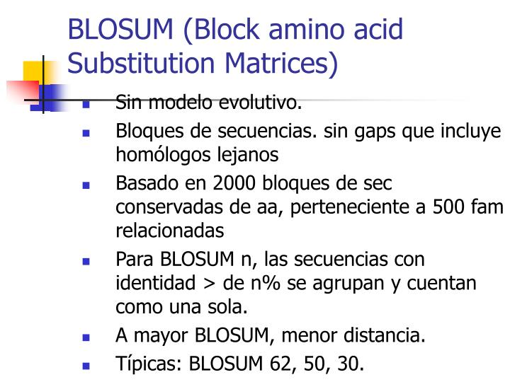 BLOSUM (Block amino acid Substitution Matrices)
