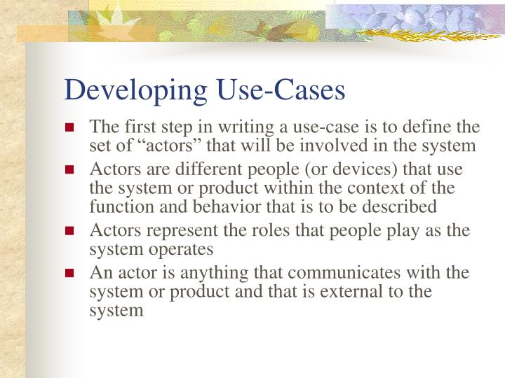Developing Use-Cases