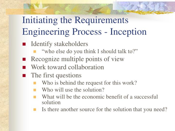 Initiating the Requirements Engineering Process - Inception