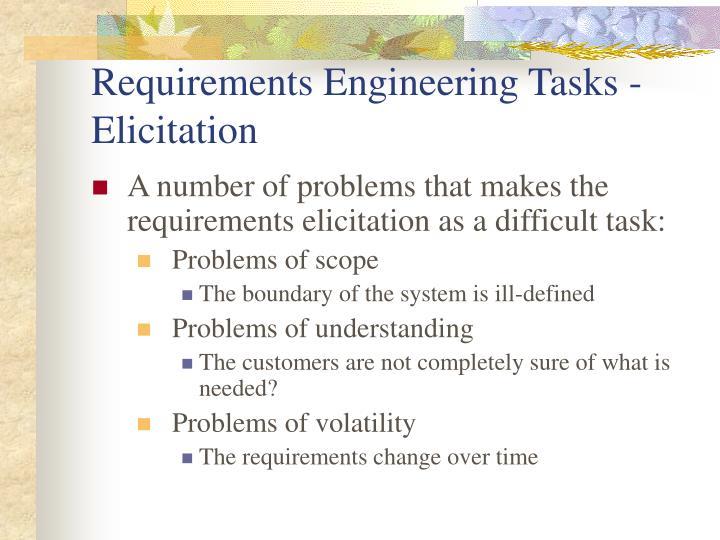 Requirements Engineering Tasks - Elicitation