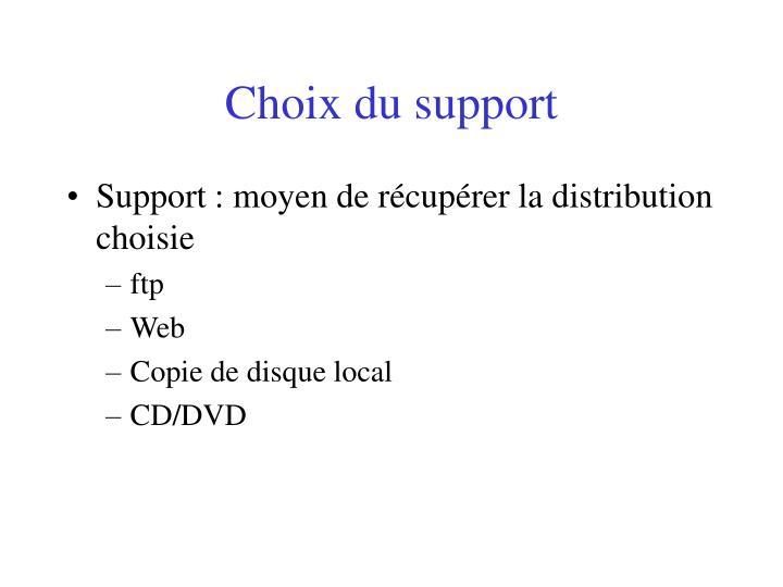 Choix du support