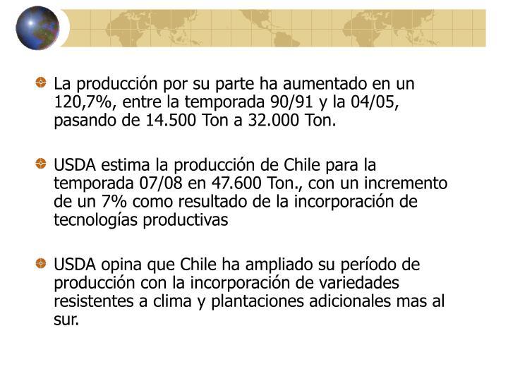 La producción por su parte ha aumentado en un 120,7%, entre la temporada 90/91 y la 04/05, pasando de 14.500 Ton a 32.000 Ton.