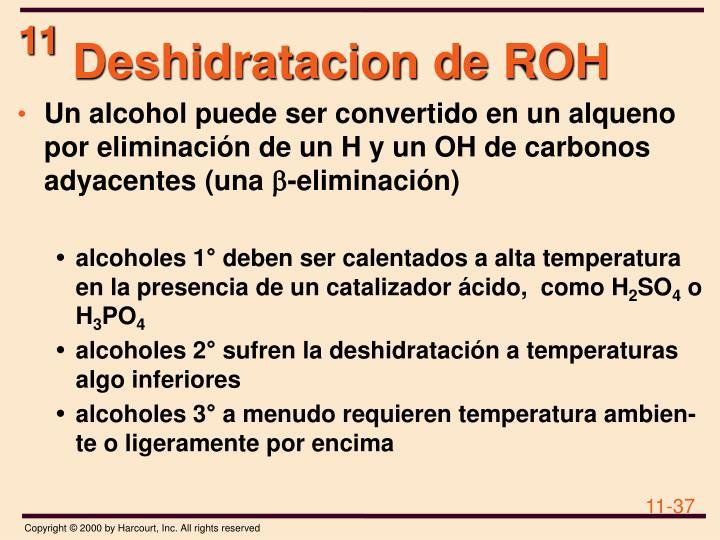 Deshidratacion de ROH