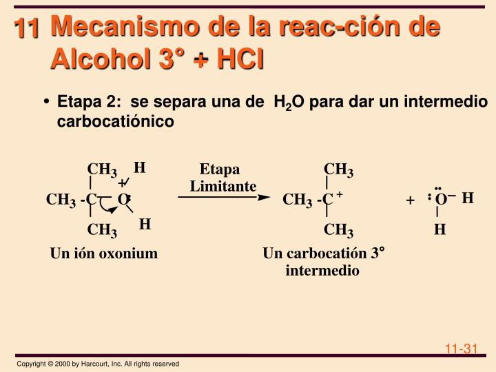 Mecanismo de la reac-ción de Alcohol 3°+ HCl
