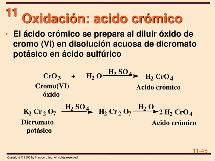 Oxidación: acido crómico