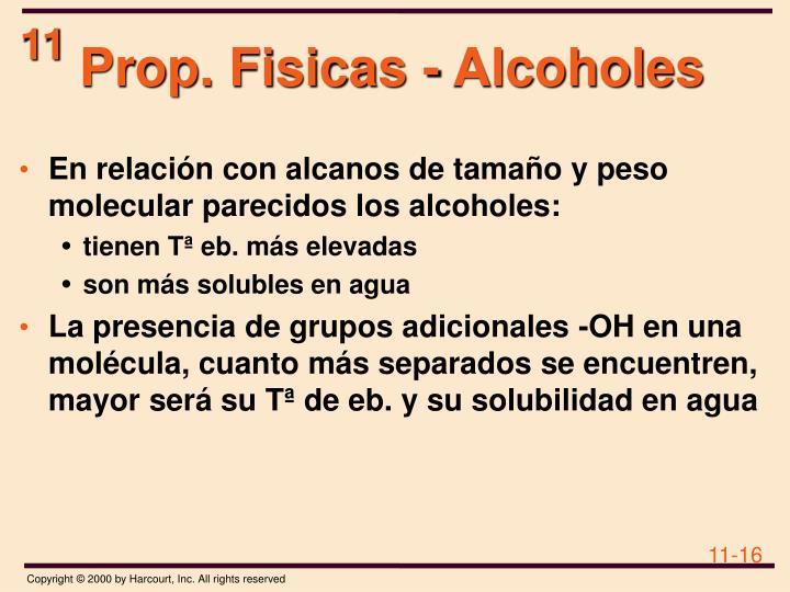 Prop. Fisicas - Alcoholes