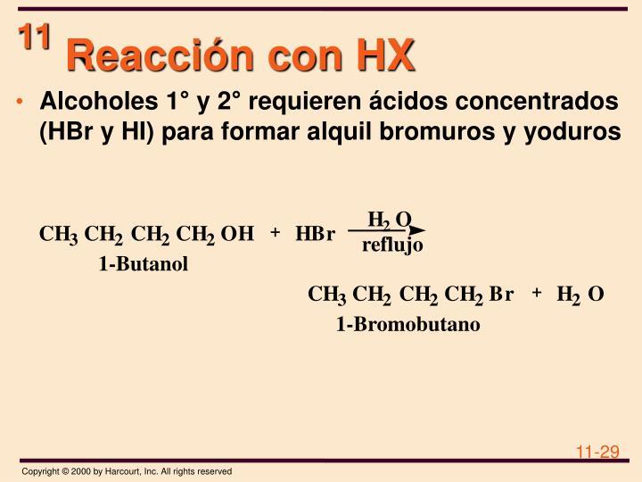 Reacción con HX