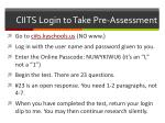 ciits login to take pre assessment
