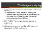 weekly agenda 1 30 13