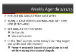 weekly agenda 2 11 13