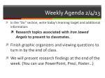weekly agenda 2 4 13