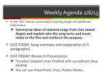 weekly agenda 2 6 13