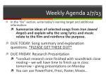 weekly agenda 2 7 13
