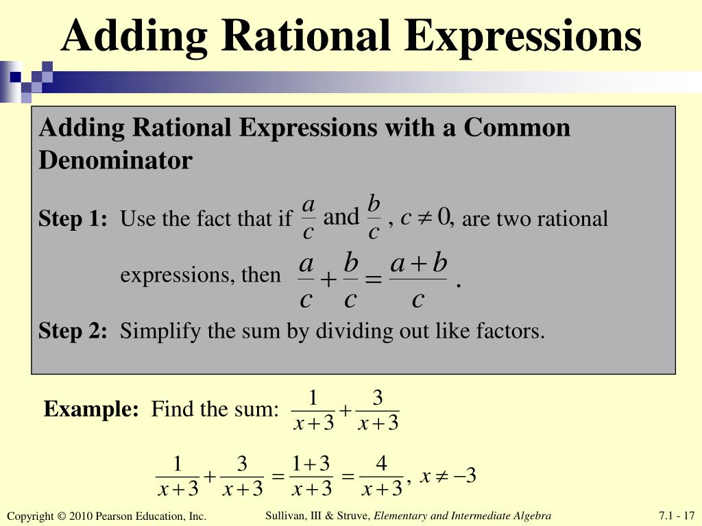 Ppt Chapter 7 Rational Expressions And Equations Powerpoint Presentation Id 7073653 Addition of two rational expressions