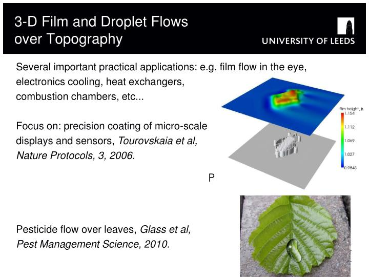 3 d film and droplet flows over topography