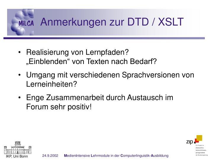 Anmerkungen zur DTD / XSLT