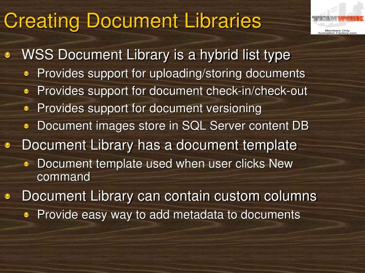 Creating Document Libraries