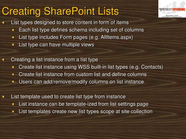 Creating SharePoint Lists