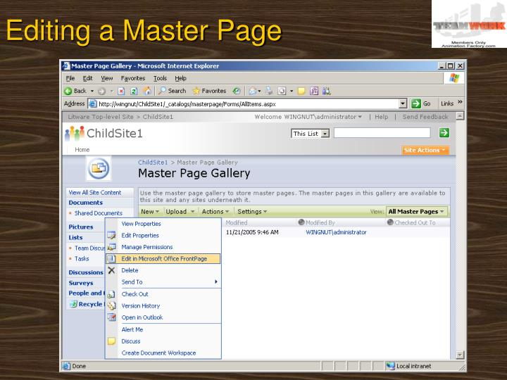 Editing a Master Page