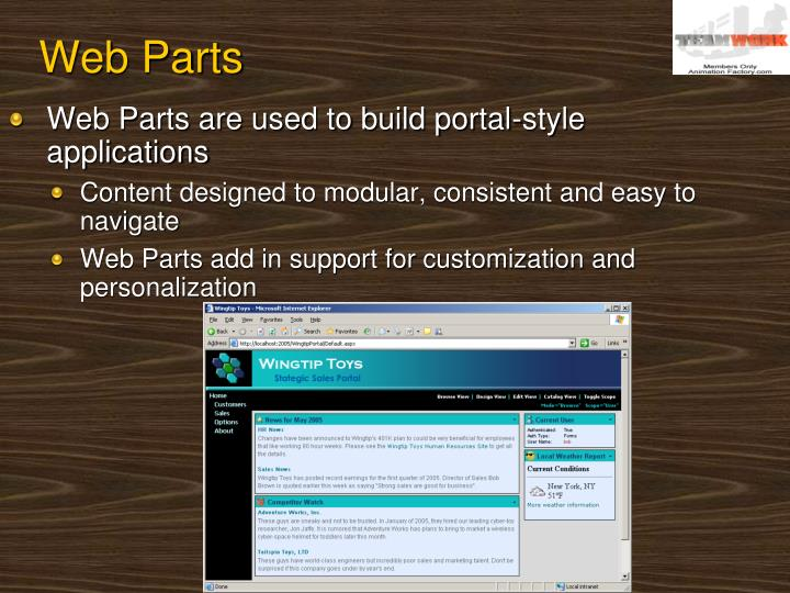 Web Parts are used to build portal-style applications