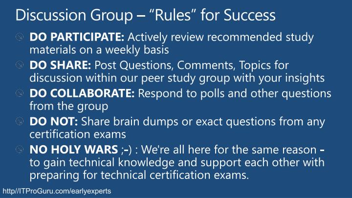 """Discussion Group – """"Rules"""" for Success"""