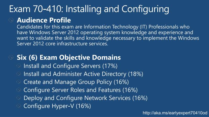 Exam 70-410: Installing and Configuring