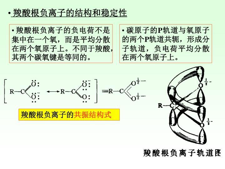 羧酸根负离子的结构和稳定性
