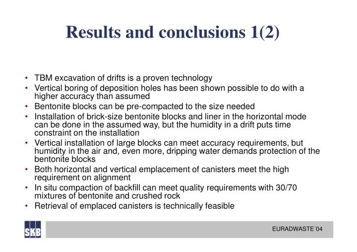 Results and conclusions 1(2)