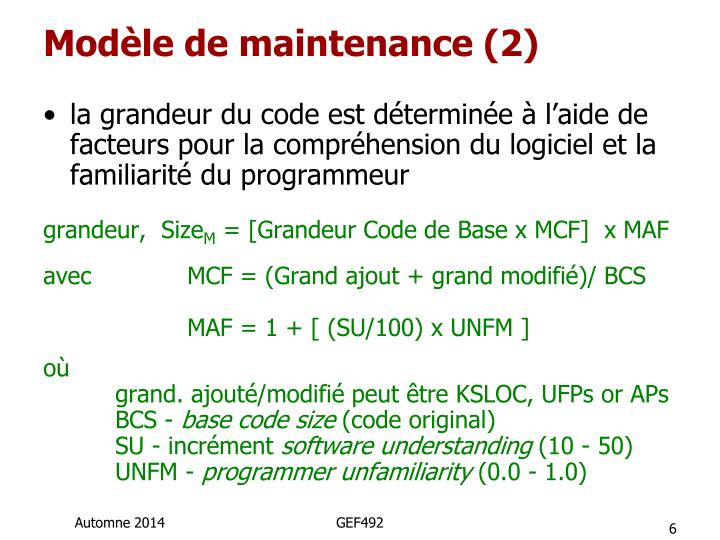 Modèle de maintenance (2)