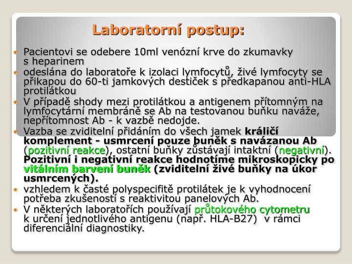 Laboratorní postup: