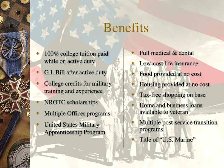 100% college tuition paid while on active duty