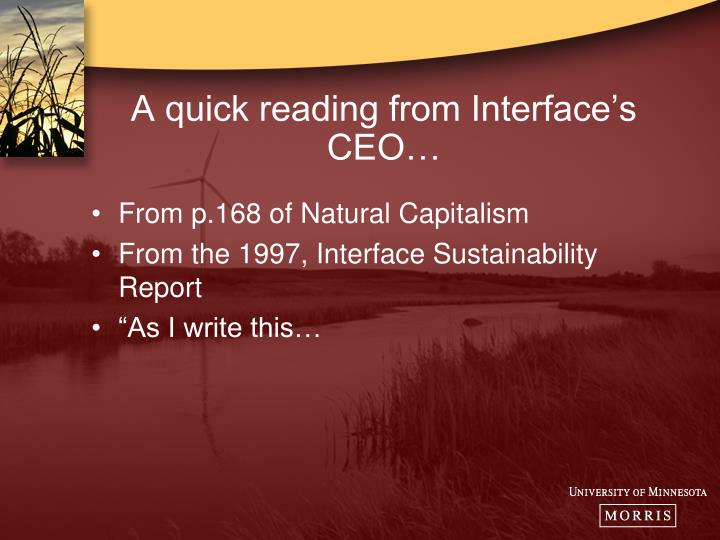 A quick reading from Interface's CEO…