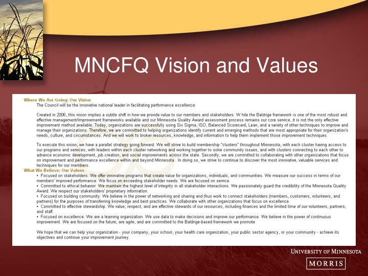 MNCFQ Vision and Values