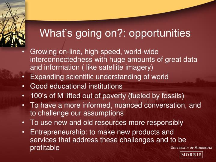 What's going on?: opportunities