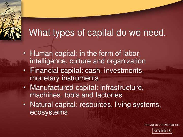 What types of capital do we need.