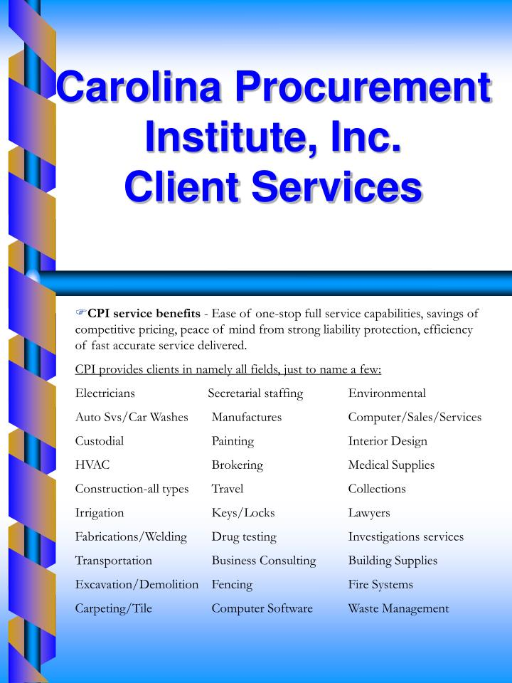 Carolina Procurement Institute, Inc.                        Client Services