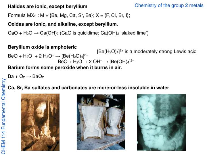 Chemistry of the group 2 metals