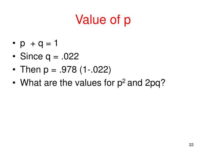 Value of p