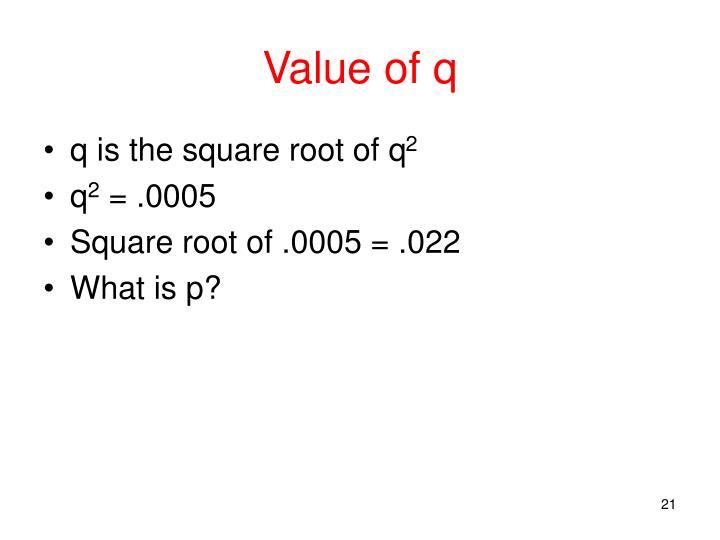 Value of q