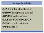 six steps for exhibits