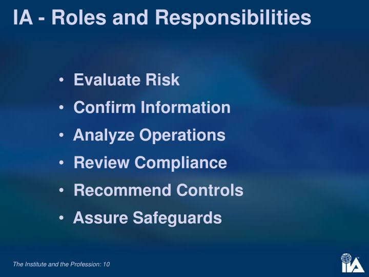 IA - Roles and Responsibilities