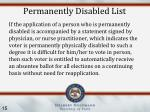 permanently disabled list